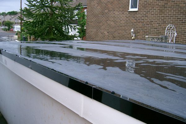 flat roof garage after